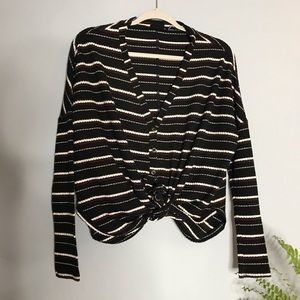 Out From Under Button Tie Front Knit Henley Top